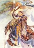 Allegory of Paradise Bird. Beautiful background, fashion girl vector illustration