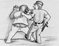 Allegory of racial discrimination. A police officer arrested a black man. Pencil drawing on paper vector illustration