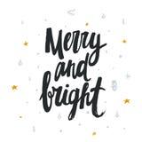 Allegro e luminoso - progettazione scritta a mano per la cartolina di Natale Immagini Stock Libere da Diritti