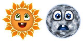 Allegro, il sole e la luna è triste Fotografia Stock