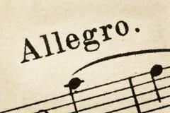 Allegro - tempo rápido de la música Fotografía de archivo libre de regalías