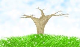 Allein trockener Baum lizenzfreie abbildung