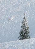 Alleine auf der Skisteigung Stockfotos
