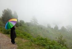 Alleine im Nebel mit buntem Regenschirm Stockfotos
