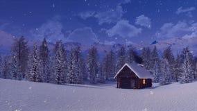 Alleine Klotzhütte im Berg nachts des verschneiten Winters vektor abbildung