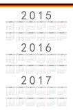 Allemand 2015, 2016, calendrier de vecteur de 2017 ans Photographie stock libre de droits