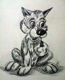 Allen concentreren zich, illustratie, wolfsstuk speelgoed grafiek, leuke dierlijke kat stock illustratie