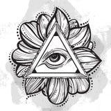 Allen die het symbool van de oogpiramide zien Hand-drawn Oog van Voorzienigheid Alchimie, godsdienst, spiritualiteit, tatoegering vector illustratie