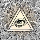 Allen die het symbool van de oogpiramide zien Hand-drawn Oog van Voorzienigheid Alchimie, godsdienst, spiritualiteit, tatoegering royalty-vrije illustratie