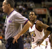Allen Iverson. 76er Allen Iverson speaks his mind to official Jack Nies after receiving a technical foul in the third quarter of 2000 game at Philadelphia Royalty Free Stock Photos