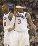Allen Iverson. Sixers Willie Green and Allen Iverson during a break in the second quarter of 12/7/2009 game at Philadelphia Stock Photo