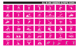Allen in pictogrammen van één de zomer de olympische sport vector illustratie