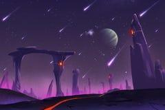 Allen Planets Environment fantástico y exótico: Pilares de piedra stock de ilustración