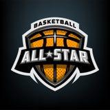Allen spelen basketbal, het embleem van het sportenembleem mee royalty-vrije illustratie