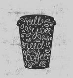 Allen u wenst is Koffie - hand getrokken citaat Leuke schets Vector illustratie Stock Afbeelding