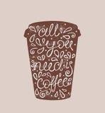 Allen u wenst is Koffie - hand getrokken citaat Leuke schets Vector illustratie Stock Afbeeldingen