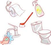 Allen voor toilet en het schoonmaken stock illustratie