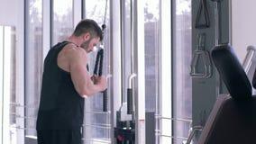 Allenamento del culturista, forte addestramento facente maschio della costruzione del muscolo sul simulatore della trazione mentr video d archivio