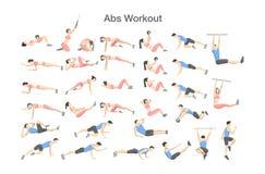 Allenamento dell'ABS per gli uomini e le donne Esercitazioni atletiche illustrazione di stock