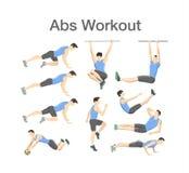Allenamento dell'ABS per gli uomini Esercizio di sport per l'ente perfetto royalty illustrazione gratis