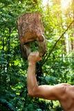Allenamento dell'uomo con kettlebell di legno in foresta Fotografie Stock Libere da Diritti
