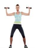 Allenamento della donna con i pesi Immagine Stock