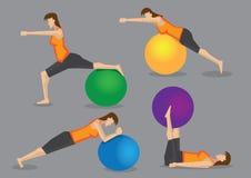 Allenamento di esercizio di forma fisica della donna con la palla della palestra illustrazione di stock