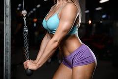 Allenamento di posa della giovane donna atletica e d'esercitazione di modello di forma fisica Immagini Stock