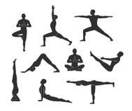 Allenamento di yoga, pose, asanas illustrazione di stock
