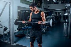 Allenamento muscolare abbronzato dell'uomo con il bilanciere in palestra Immagini Stock