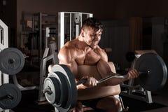 Allenamento muscolare dell'uomo con il bilanciere Fotografia Stock Libera da Diritti