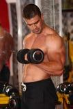 Allenamento muscolare dell'uomo in palestra Fotografia Stock