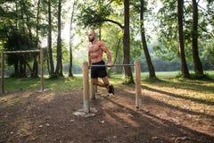 Allenamento muscolare dell'uomo sulle barre in palestra all'aperto Immagine Stock Libera da Diritti