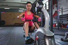 allenamento sportivo della donna sul vogatore in palestra Immagine Stock Libera da Diritti