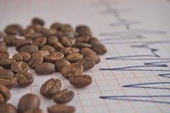 Allenti i chicchi di caffè arrostiti su un tracciato di ECG immagini stock libere da diritti