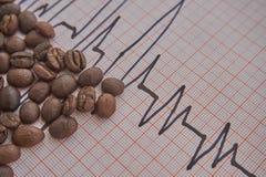 Allenti i chicchi di caffè arrostiti su un tracciato di ECG immagine stock