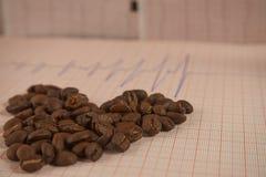 Allenti i chicchi di caffè arrostiti su un tracciato di ECG fotografie stock libere da diritti