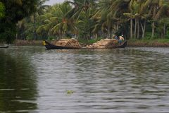 Allepey, Kerala, India - March 31, 2015: Some men transport, overload, put on them head bags of rice. Allepey, Kerala, India - March 31, 2015: Some men transport Royalty Free Stock Photography