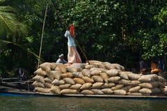 ALLEPPEY, †«31-ое марта 2015 КЕРАЛЫ, ИНДИИ: Некоторый dwell перехода человека с рисом на канале для шлюпок стоковые изображения