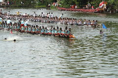 Alleppey boat race. Snake boats competing in the Nehru trophy boat race in Alleppey, Kerala, India Stock Image