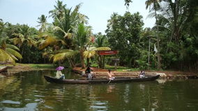 ALLEPPEY, INDIA - MARCH 2013: Everyday scene in Kerala Backwaters Stock Photography