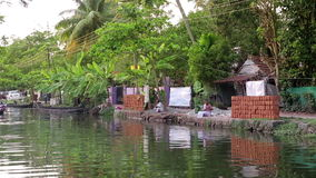 ALLEPPEY, INDIA - MARCH 2013: Everyday scene in Kerala Backwaters Stock Photo