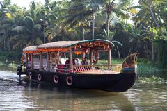 Houseboat on backwaters in Kerala, South India Royalty Free Stock Photo