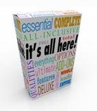 Aller es ist hier Produkt-Kasten alle einschließlichen Funktionen stock abbildung