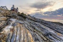 Aller Felsen-Punkt zu Pemaquid Stockfoto
