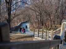 Aller jusqu'au dessus de la tour de Namsan utilisant l'escalier photographie stock libre de droits