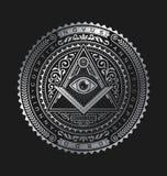 Aller sehende Augen-Emblem-Ausweis-Vektor Logo Metallic vektor abbildung