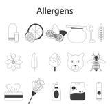 Allergènes réglés Illustration de vecteur Ligne mince Photo libre de droits