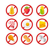 Allergen free icons. Set of ingredient warning icons with common allergens: gluten, dairy, shellfish, peanuts, eggs and more Stock Photos