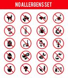 Allergen free products icons. Set of allergen free products icons. Insects and wool, dust and medicine and odor. Vector illustration Stock Photo